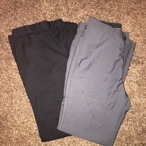 Men's dress slacks in black and grey